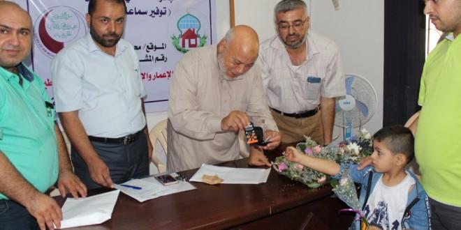 جمعية الإعمار والإغاثة الخيرية بغزة توزع سماعات أذن لذوي الإعاقة السمعية ( الصم) ضمن مشروع  مبادرة ساعدني كي أسمع